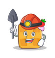 miner waffle character cartoon design vector image vector image