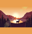 mountain landscape with deer and lake at sunset vector image vector image