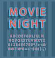 movie night vintage 3d alphabet set vector image