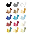 multicolored birds cartoon set vector image
