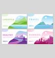 outdoor travel activity healthy lifestyle cartoon vector image vector image