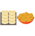 Pastry on a baking sheet and on plate vector image vector image