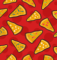 Pizza stitch patch icons seamless pattern vector image vector image