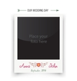 Retro wedding photo frame polaroid Template for vector image