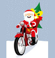 santa claus on a red motorcycle vector image vector image