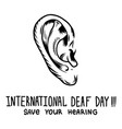 save your hearing concept background hand drawn vector image vector image