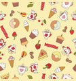 seamless pattern of hand-drawn sweets icons vector image vector image