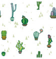 seamless pattern with cute cactuses vector image vector image