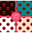 Set of seamless patterns with lips vector image