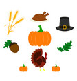 set of thanksgiving day icons of color vector image vector image