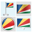 Seychelles flag - sticker button label vector image vector image
