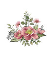 spring flowers label with flowers and leaves vector image