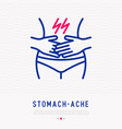 stomach ache thin line icon vector image