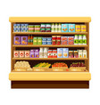 supermarket shelves with products and drinks vector image vector image
