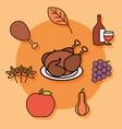 thanksgiving day season food turkey wine apple vector image