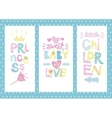 Three children s layout with labels Princess Baby vector image vector image