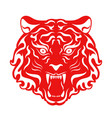 tiger roaring head stylized vector image
