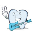 tooth character cartoon style with guitar vector image vector image