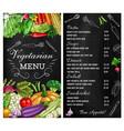 vegetables menu salads sketch vegetarian food vector image