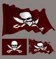 waving pirate flag skull and swords vector image