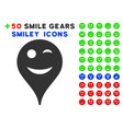wink smiley map marker icon with bonus smiley set vector image vector image