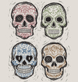 woodcut day dead sugar skull set vector image vector image