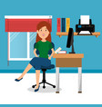 young businesswoman in the workplace office vector image