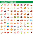 100 tasty icons set cartoon style vector image