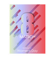 8 march greeting card template on pink background vector image