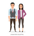 a couple of young asian characters in business vector image vector image