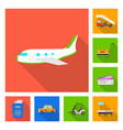 airport and airplane logo vector image vector image