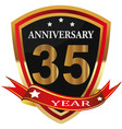 anniversary 35 th label with ribbon vector image vector image