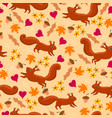 autumn seamless pattern with squirrels vector image