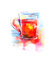 Background with painted watercolor tea in glass vector image