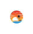 beach sunset logo design icon element sunset logo vector image vector image