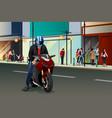 biker riding motorbike vector image vector image
