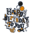 Birthday card Colorful letters balloons vector image vector image