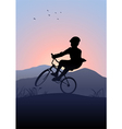 Boy Riding A Bicycle vector image vector image