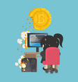 business woman are trying to dig a bitcoin vector image vector image