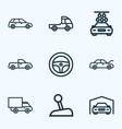car icons line style set with pickup truck prime vector image vector image