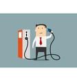Cartoon businessman refuelling his brain vector image
