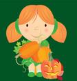 cartoon girl in green dress holding pumpkins in vector image vector image