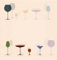 cocktail glasses for restaurant or bar menu vector image