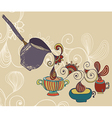 Coffee Background with cups vector image vector image
