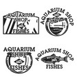color vintage aquarium shop emblems vector image vector image
