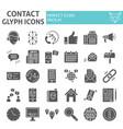 contact glyph icon set communication symbols vector image