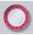 Decorative plate with floral painting on the edge vector image