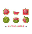 different shapes watermelon icons vector image