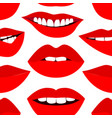 fashion pattern with red lips vector image vector image