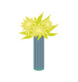 flower plant in tall striped vase isolated vector image vector image